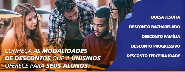Além das bolsas e financiamentos, a Unisinos oferece modalidades de descontos para seus alunos  Veja mais em http://www.unisinos.br/bolsas-financiamentos-e-descontos/graduacao/descontos-graduacao